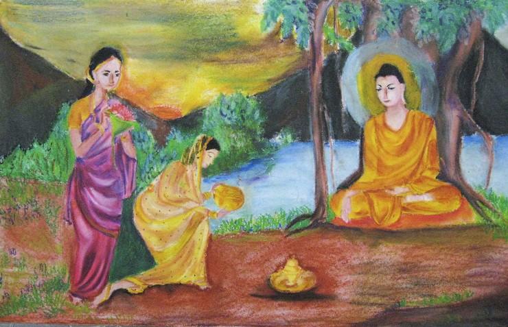 スリランカの奨学生からのお礼の絵画「牧女の供養」