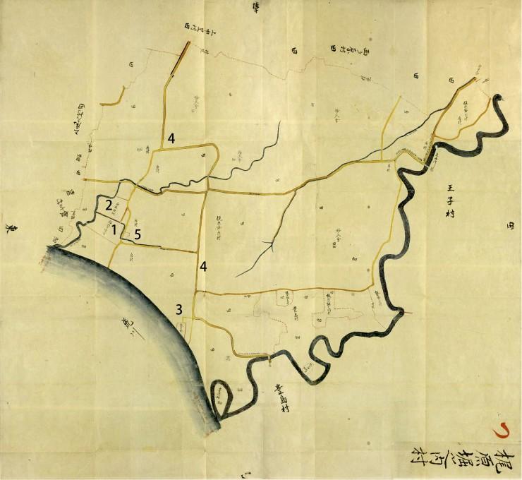 梶原堀之内村(堀船1-3丁目)の安政時代古地図