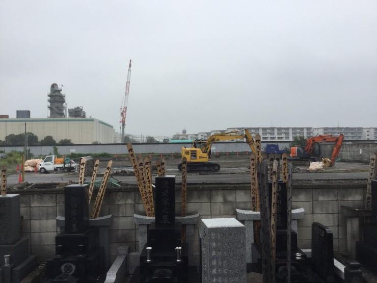 現在の福性寺から見た隅田川(荒川)堤防  灰色の帯状のものが堤防