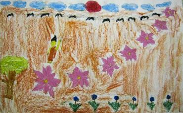 スリランカの奨学生(仏教徒海外奨学基金)が描いた七つの蓮です