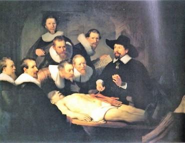 レンブラントの「トゥルプ博士の解剖学講義」最前列左3人目の観察者(医師)の視線が素晴らしいです 他の医師の視線はバラバラで解剖中の腕を視ていません 画家(レンブラント)を見ていますか?