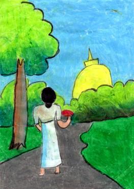 平成30年2018年仏教徒海外奨学基金のスリランカの奨学生から絵 赤いお花を持って仏舎利塔に参拝
