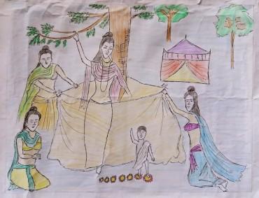釈尊誕生 平成30年2018年仏教徒海外奨学基金の奨学生からの絵