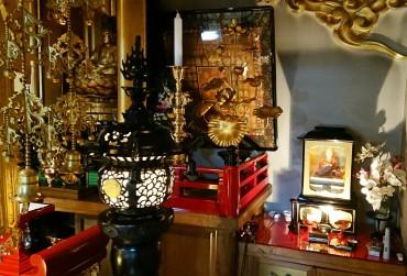 燈篭と燭台の右の蓮のモデルが常花です
