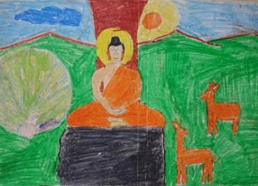 平成31年2019年春 スリランカの奨学生から送られてきた絵 この絵の場所がわかりますか? 鹿が描かれていますね