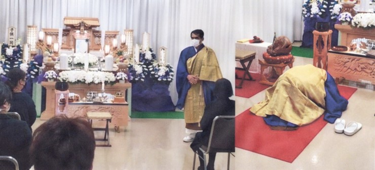 4月26日のお葬儀の冒頭 マスクをかけての通夜・祭壇・お経などの説明(左)と葬儀の開始・五体を投地(右)清潔な毛氈(もうせん・写真右では赤色=緋毛氈)の用意があると五体を投地することができます 私の出かける葬儀では葬儀社2社が毛氈を用意してくれます ありがたいです 実はマスクの中の不織布(最近よく耳にします)も毛氈も「フエルト」です 「フェルト」「布織布」とは繊維を織らずに圧をかけるなどで作った布のことですね